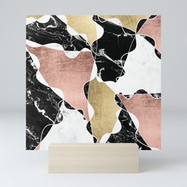 Modern white black marble rose gold foil color block handdrawn geometric lines Mini Art Print