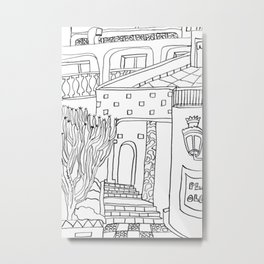 The Terrace And Place Of Olé - Drawing Metal Print