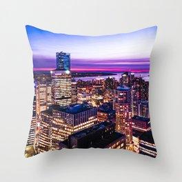 1688 Voyeuristic Vancouver Cityscape - English Bay Pacific Rim View British Columbia Canada Travel Throw Pillow