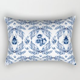 Florals blue & white pattern with beetles Rectangular Pillow