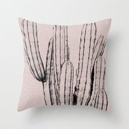 Pink cactus print Throw Pillow