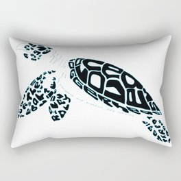 Calligram Sea Turtle Rectangular Pillow