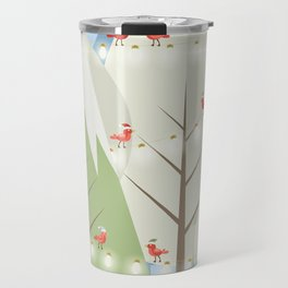 Holiday Winter Scene with Red Bird Santas and Glowing Lights in a Christmas Tree Forest Travel Mug