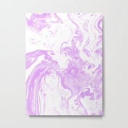 Marble suminigashi purple and white minimal pattern marbled spilled ink art Metal Print