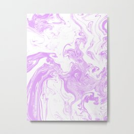 Marble suminigashi purple and white minimal pattern marbled spilled ink art Metal Print