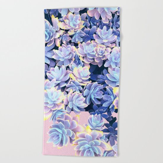Cactus Fall - Blue and Pink Beach Towel
