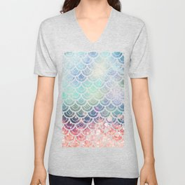Mermaid Scales Coral and Turquoise Unisex V-Neck