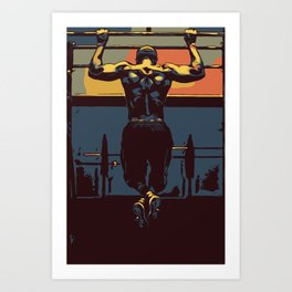 Pull ups at the gym - crossfit Art Print