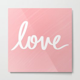 Love on Pink Metal Print