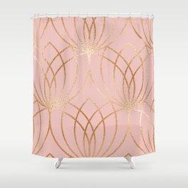 Rose Gold Millennial Pink Blooms Shower Curtain