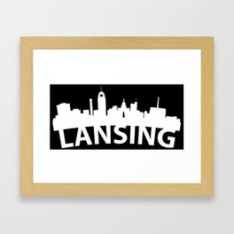 Curved Skyline Of Lansing MI Framed Art Print