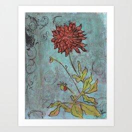 Orange Dahlia Art Print