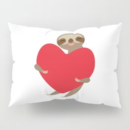 Funny sloth with a red heart Pillow Sham