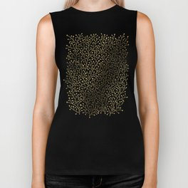 Gold Berry Branches on Black Biker Tank