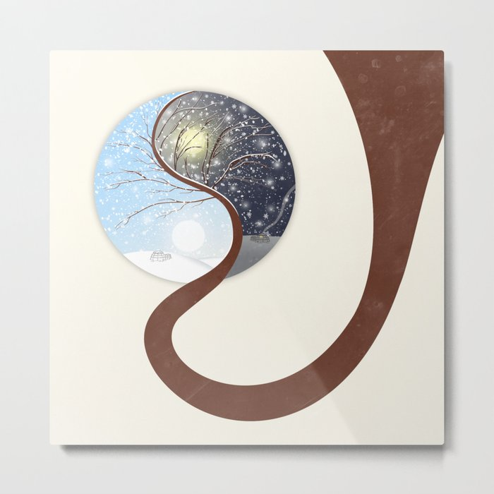 Yin-Yang Tree : Day - Night (Winter) Metal Print