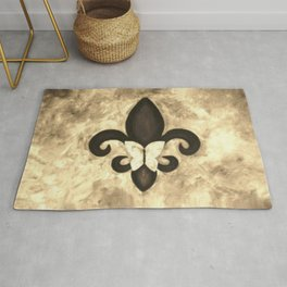 Sepia Gold and Brown Fleur de Lis with Butterfly Rug