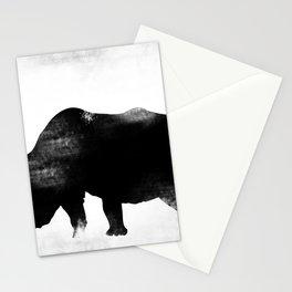 Rhino with bird Stationery Cards