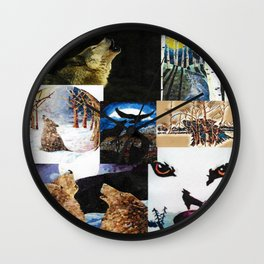 Wolf Collage Wall Clock