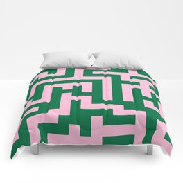 Cotton Candy Pink and Cadmium Green Labyrinth Comforters