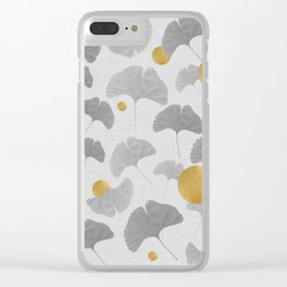 Golden Ginkgo Biloba Leaf Pattern Clear iPhone Case