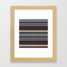 """Blue lines burlap"" Framed Art Print"