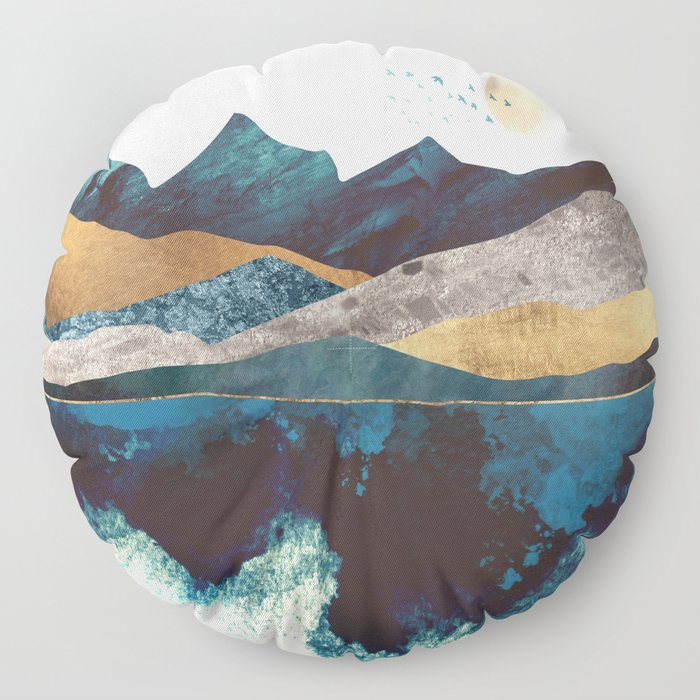 Blue Mountain Reflection Floor Pillow