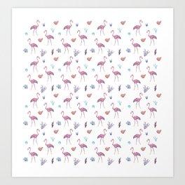 Aquatic & Flamingo Watercolour Pattern Art Print