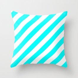 Diagonal Stripes (Aqua Cyan/White) Throw Pillow