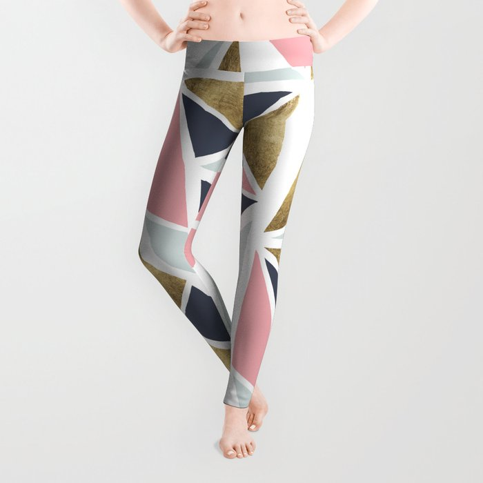 Modern geometrical pink navy blue gold triangles pattern Leggings
