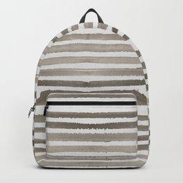 Simply Shibori Stripes Earth Brown on Lunar Gray Backpack