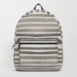 Simply Shibori Stripes Earth Brown on Lunar Gray Backpack