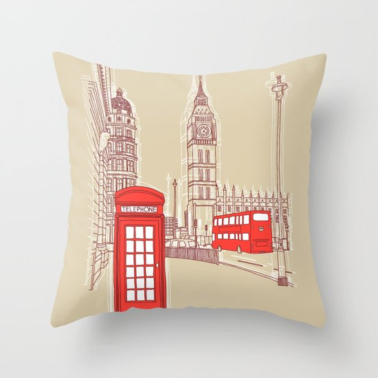 City Life // London Red Telephone Box Throw Pillow
