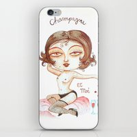 champagne iPhone & iPod Skins featuring Champagne by laxisca