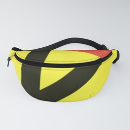 Cutting the Red Tape. Black Scissors and Yellow Background. Fanny Pack