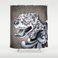 pit bull Shower Curtains featuring Ornamental Pit Bull by Pretty In Ink