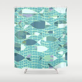 Sea swimming fish aquamarine pool Shower Curtain