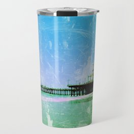 Blue and green Santa Monica Pier Travel Mug