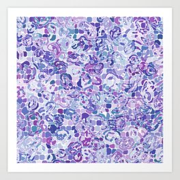 Blue and Purple Blobs Art Print