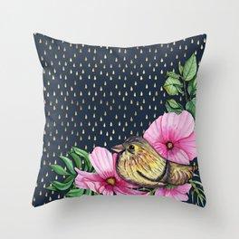 Floral bird on golden raindrop pattern Throw Pillow