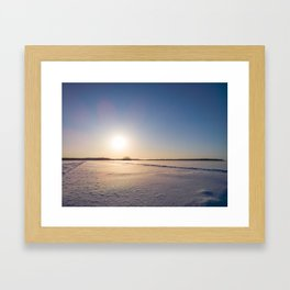 Clear Day on Snowy Lake Ice Framed Art Print