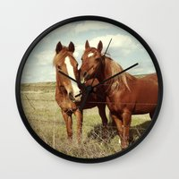 lacrosse Wall Clocks featuring Horse Affection by Kevin Russ