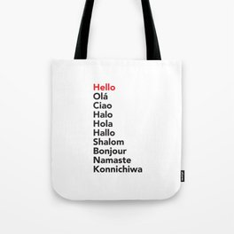 Hello in 10 Different Languages Tote Bag