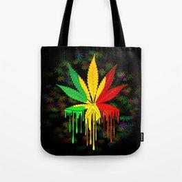 Marijuana Leaf Rasta Colors Dripping Paint Tote Bag