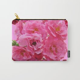 DECORATIVE FRILLY SCENTED PINK ROSE CLUSTERS ON PINK Carry-All Pouch