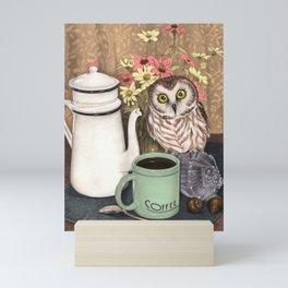 Coffee Owl Mini Art Print