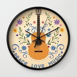 Peace Love And Music Folk Guitar Badge Wall Clock