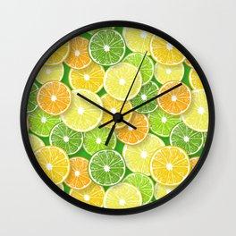 Citrus fruit slices pop art 3 Wall Clock