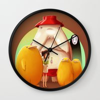 studio ghibli Wall Clocks featuring Studio Ghibli - Radish Spirit by Laurence Andrew Page Illustrator