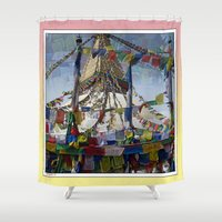hindu Shower Curtains featuring NEPALI PRAYERS CARRIED BY THE WIND FROM FLAGS by Alpine Seaside Landscapes