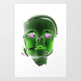 Freaky Halloween Broken Doll Zombie Face Green Art Print